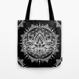 Lotus Mandala - Black Tote Bag
