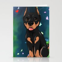 doberman Stationery Cards featuring Chibi doberman by Furiarossa