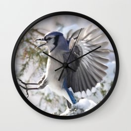 """Get Off My Branch!"" Blue Jay Wall Clock"