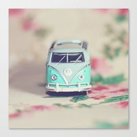 volkswagon Canvas Prints featuring Aqua VW Bus with Roses by Anna Dykema Photography