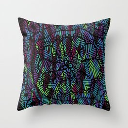 Purple and Green Doodle 14 Throw Pillow