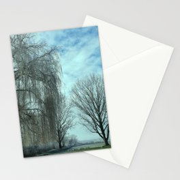 """""""Photography of Nature"""" Soccer Field with Willow in Winter at Piliscsev, Hungary Stationery Cards"""