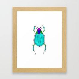Egyptian Scarab Beetle Turquoise Framed Art Print