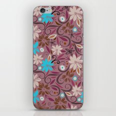 Floral_wallpaper | purple, cyan, orange, plum pink iPhone & iPod Skin