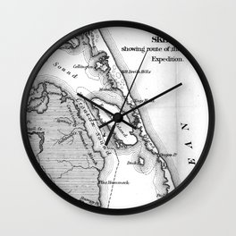 Vintage Map of The Outer Banks (1862) BW Wall Clock