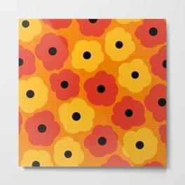 Mid Century Modern Poppy Flowers Metal Print