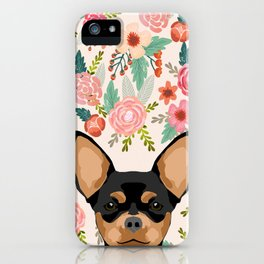 Chihuahua dog floral pet pure breed gifts for chihuahua black and tan iPhone Case