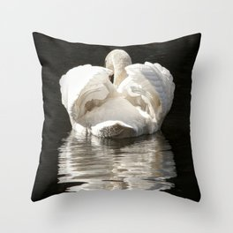 Swans wings wide open Throw Pillow
