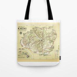 The Island of Kauai [vintage inspired] Topographic Map Tote Bag