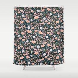 Wild Rosa Dark Vintage Floral Shower Curtain