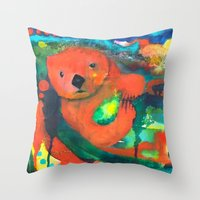 otter Throw Pillows featuring Otter by Silke Powers
