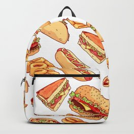 Pattern with burgers, sandwiches, tacos, hot dogs and onion rings Backpack