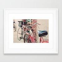 bicycles Framed Art Prints featuring Bicycles by Yolanda Méndez