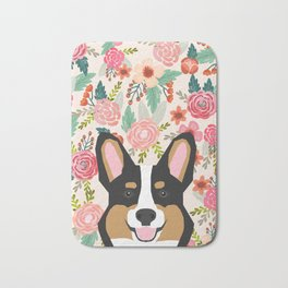 Tricolored Corgi cute corgi florals dog portrait custom dog art pet friendly dog head cell case Bath Mat