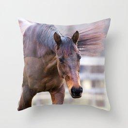 Watercolor Horse 57, Morven Park, Virginia, Shaved Relief Throw Pillow