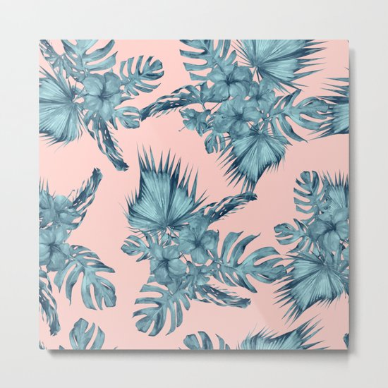Dreaming of Hawaii Teal Blue on Millennial Pink Metal Print