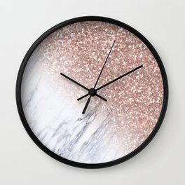 Rose Gold Sparkles White Gray Marble Luxury Wall Clock