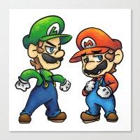 luigi Canvas Prints featuring Mario & Luigi  by Kirafrog