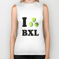 brussels Biker Tanks featuring I Choux Bruxelles - I sprout Brussels by Miss Pompompom