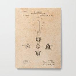 EDISON PATENTS / 01 - Incandescent Electric Lamp Metal Print