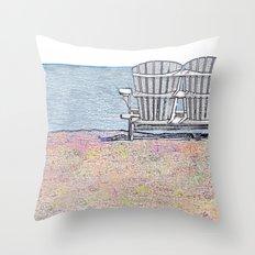Beach Chairs Throw Pillow