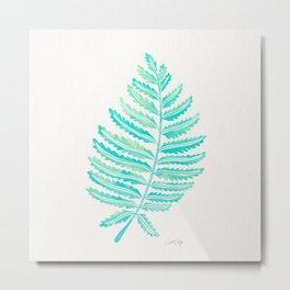 Fern Leaf – Turquoise Palette Metal Print