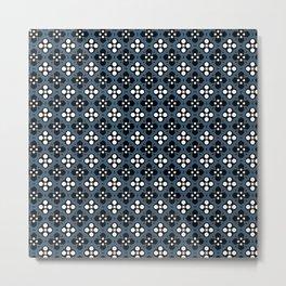 Dusky Blue Ornate Flowers Pattern Metal Print