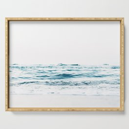 Water, Sea, Ocean, Water, Blue, Nature, Modern art, Art, Minimal, Wall art Serving Tray