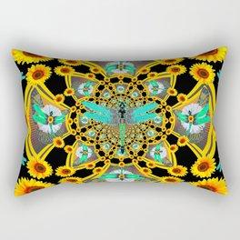 BLUE DRAGONFLIES YELLOW-BLACK GEOMETRIC ART Rectangular Pillow