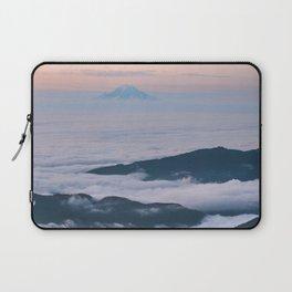 Mount Rainier Sunset Above the Clouds Laptop Sleeve