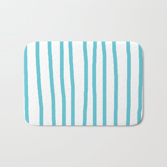 Simply Drawn Vertical Stripes in Seaside Blue Bath Mat