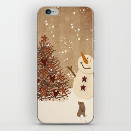 Primitive Country Christmas Tree iPhone Skin