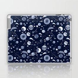 Interplanetary space pattern dark blue monochrome. Laptop & iPad Skin
