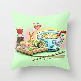 Sushi and Miso Throw Pillow