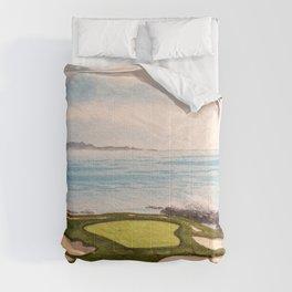 Pebble Beach Golf Course Signature Hole 7 Comforters