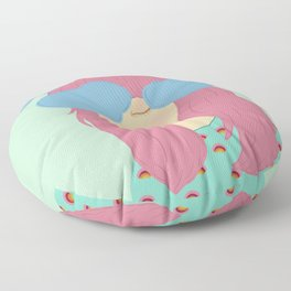 Head in the Clouds - Pink and Blue, Girl Illustration  Floor Pillow