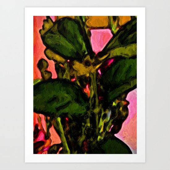 Green Leaves with some Pink Art Print