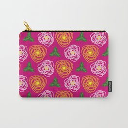 Bright pink floral Carry-All Pouch