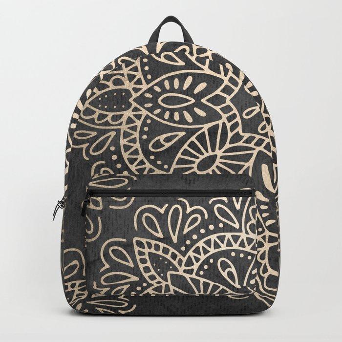 Mandala White Gold on Dark Gray Backpack