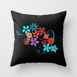 Colorful Flowers on black background Throw Pillow