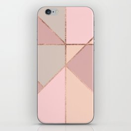 Modern rose gold peach blush pink color block iPhone Skin