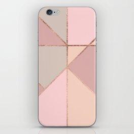 Modern rose gold peach blush pink color block iPhone Skin