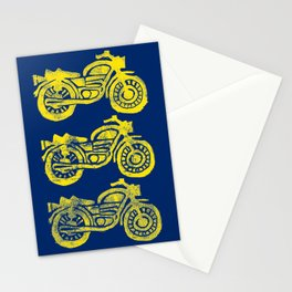 Motorcycles Linocut Yellow Gold Navy Blue Stationery Cards