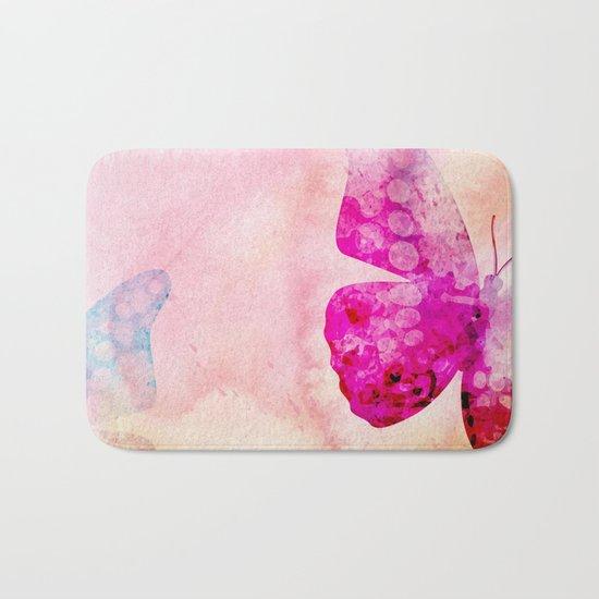 Pink Watercolor Butterfly Bath Mat
