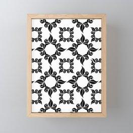 Black And White Floral Pattern Framed Mini Art Print