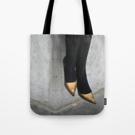 the girl in the gold shoes Tote Bag