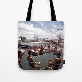 Kings Inn Hotel Sundeck on the Wildwood Boardwalk and Amusement Pier. 1960's retro photograph. Tote Bag