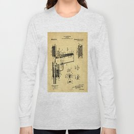 Browning Firearm Support Patent Drawing From 1911 Long Sleeve T-shirt