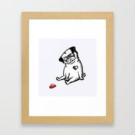 Faded Heart Pug Framed Art Print