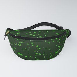 Green iridescent drops and petals on a black background in nacre. Fanny Pack